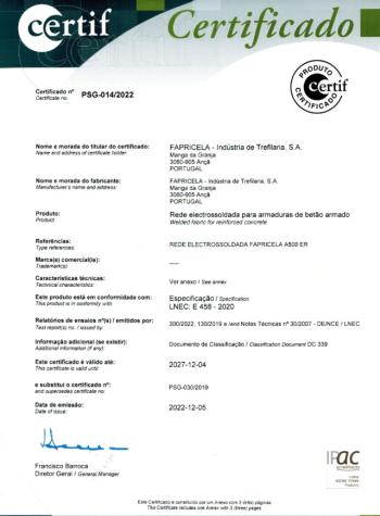 CERTIF – Rede electrossoldada fapricela A500 ER