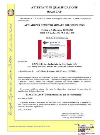 Ministero delle Infrastrutture e Transportti – Trefolo a 7 fili, classe 1670/1860